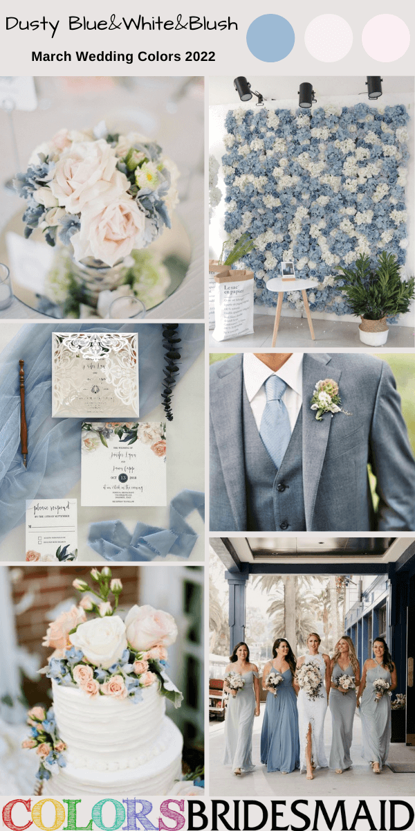 March Wedding Colors for 2022 Dusty Blue White and Blush