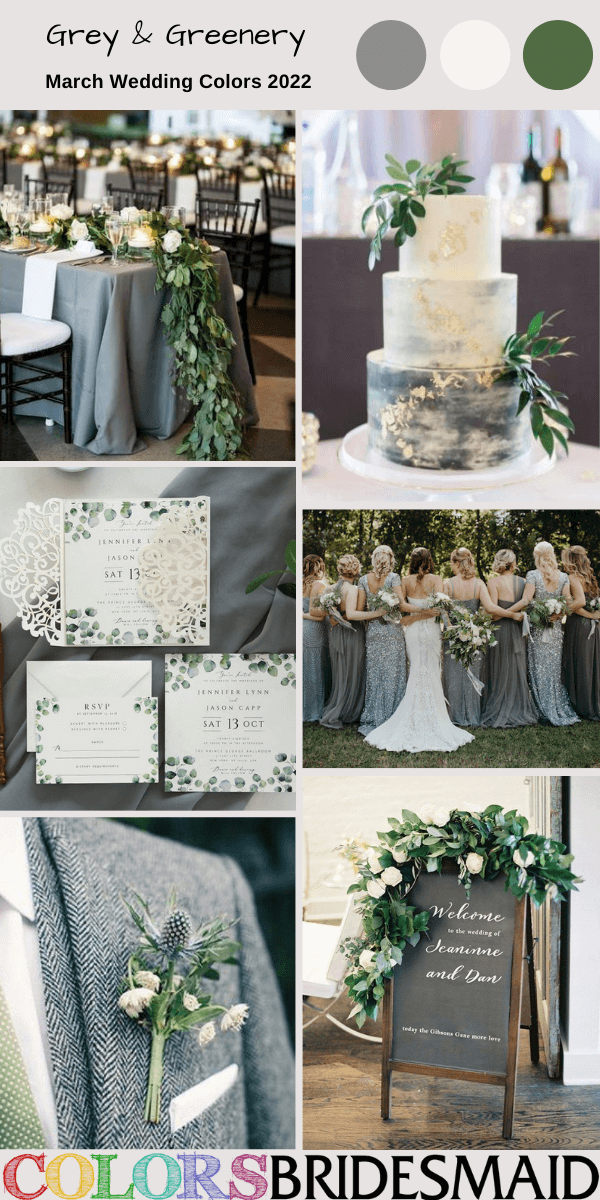 March Wedding Colors for 2022 Grey and Greenery