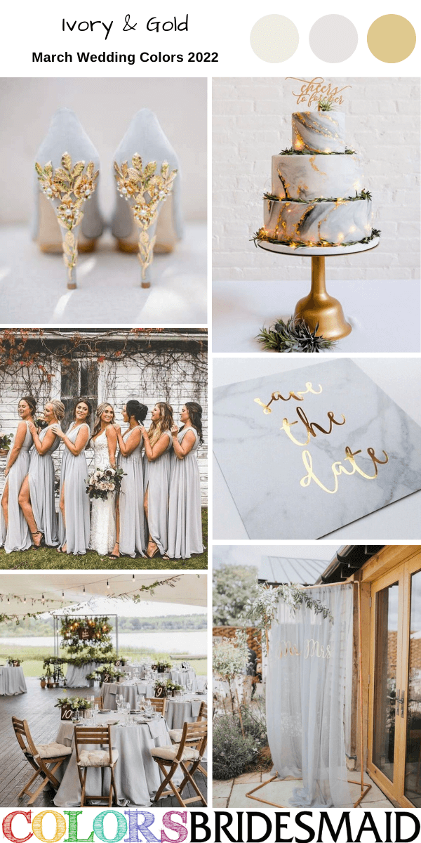 March Wedding Colors for 2022 Ivory and Gold