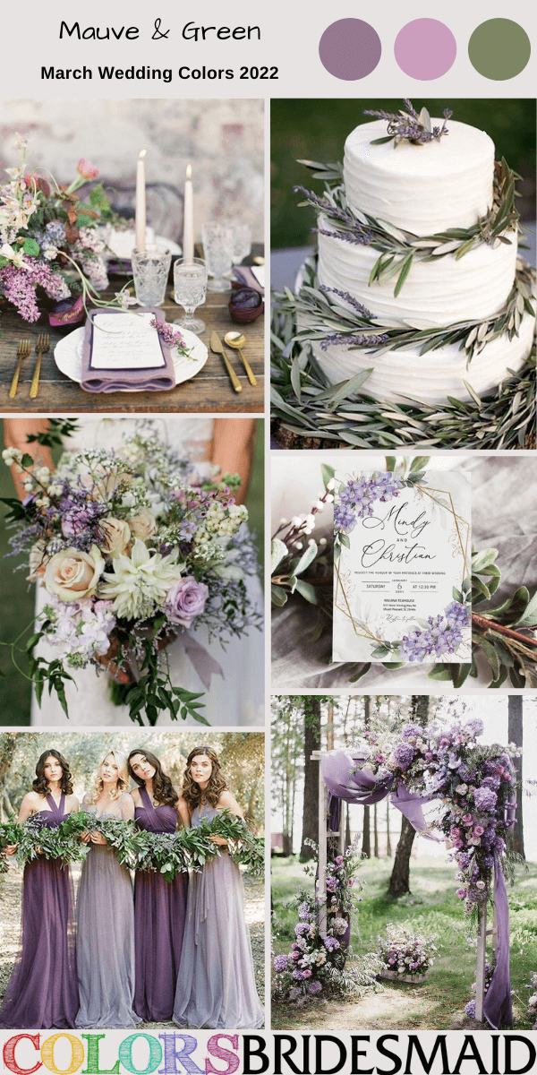 March Wedding Colors for 2022 Mauve and Green