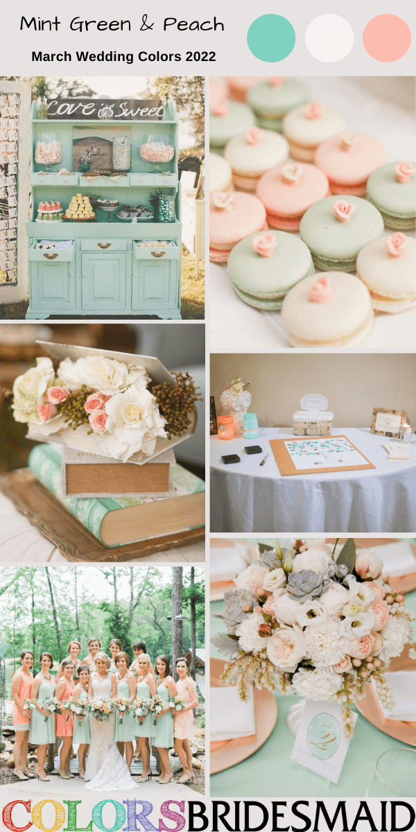 March Wedding Colors for 2022 Mint Green and Peach