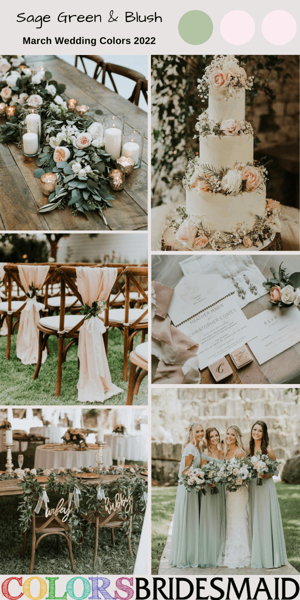 March Wedding Colors for 2022 Sage Green and Blush