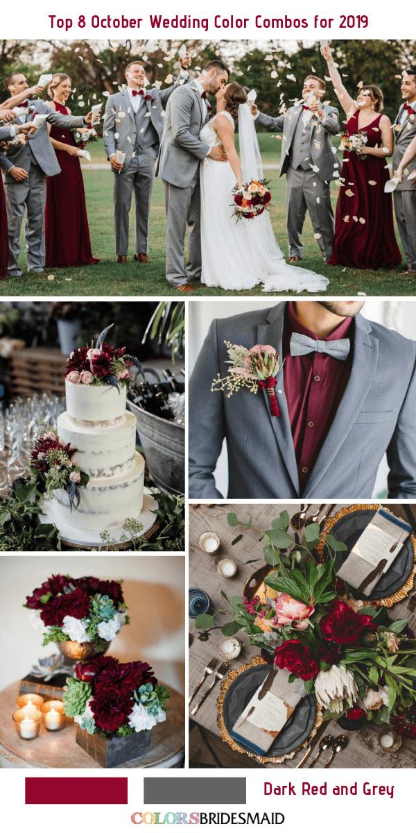 October Wedding Color Combos for 2019- Dark Red + Grey