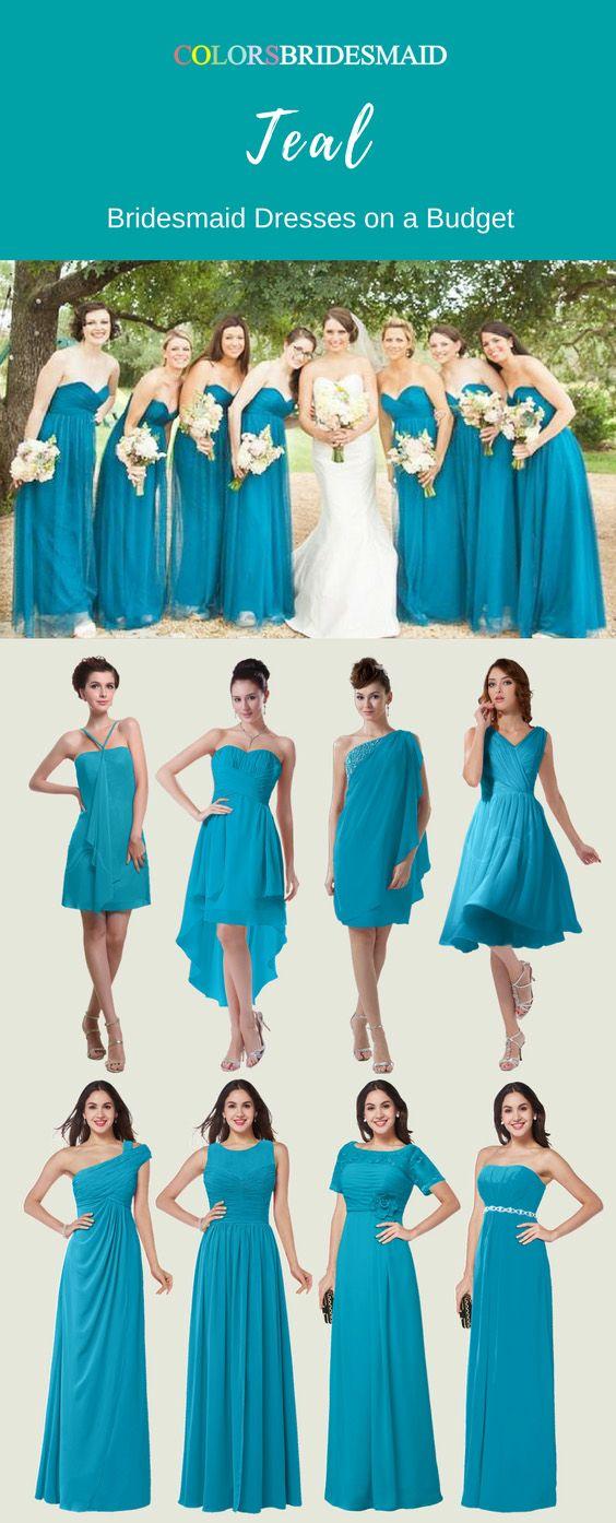ColsBM long and short teal bridesmaid dresses