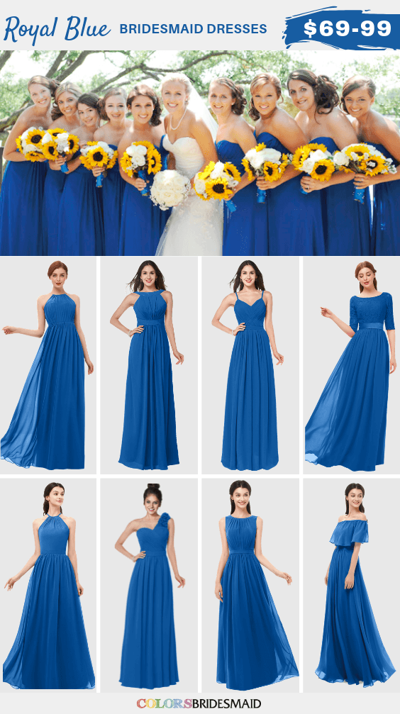 yellow and blue bridesmaid dresses