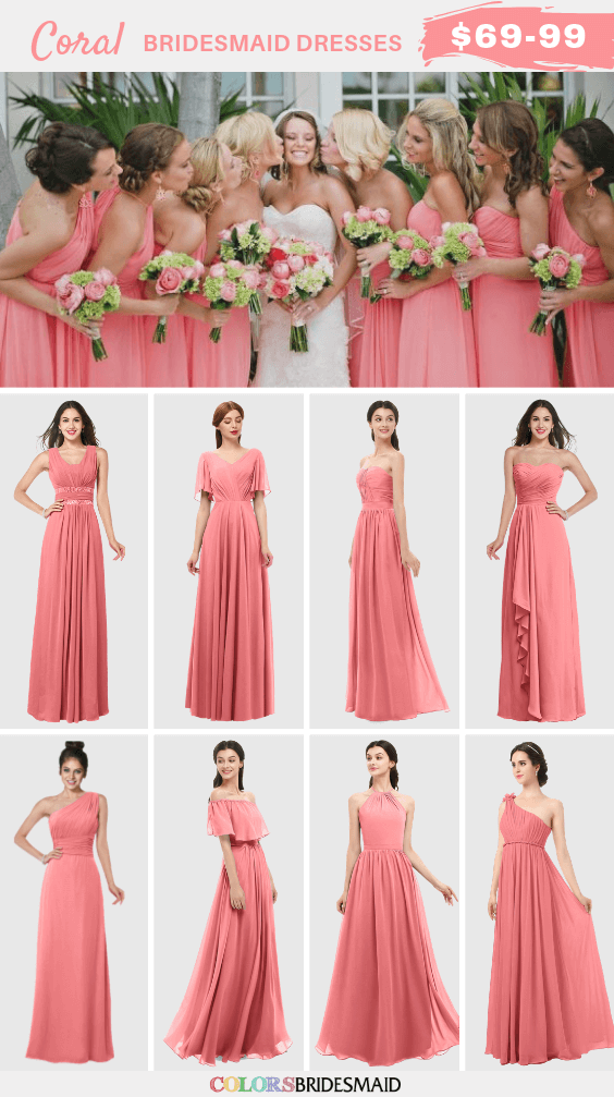 Coral Wedding Coral Bridesmaid Dresses Paired With Navy Shoes 2019 Colorsbridesmaid
