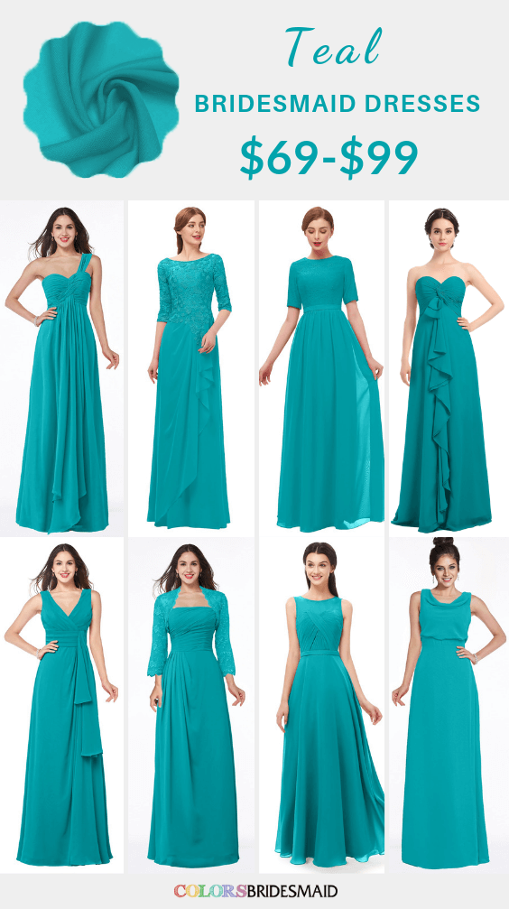 ColsBM long and short teal bridesmaid dresses