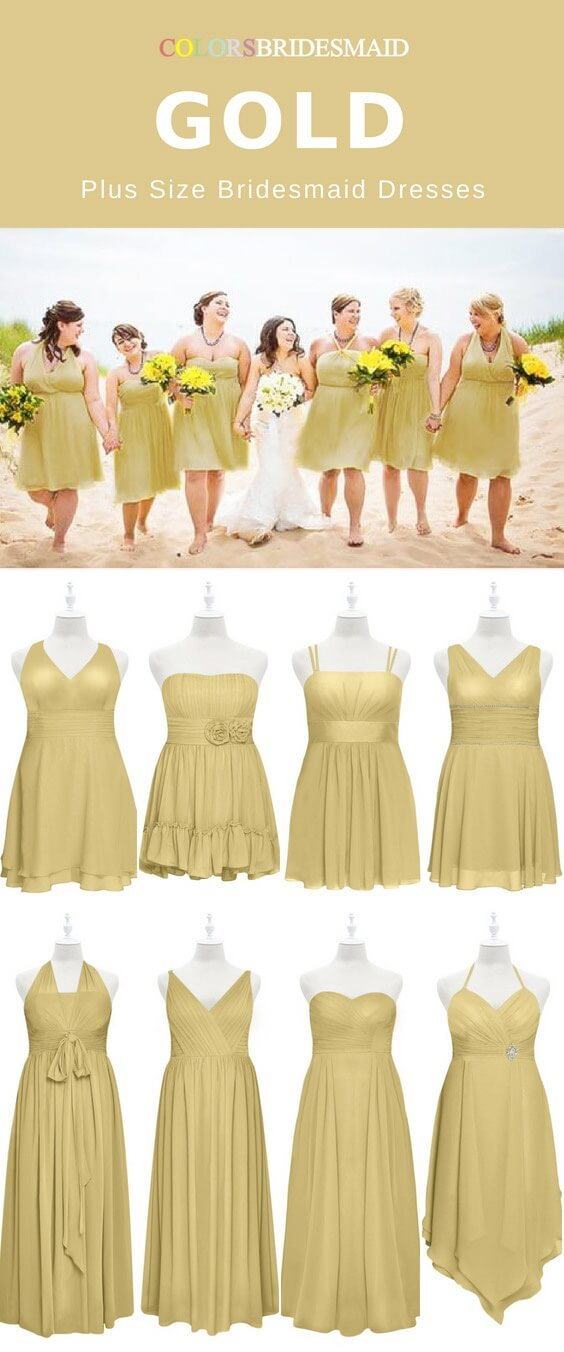 plus size gold bridesmaid dresses