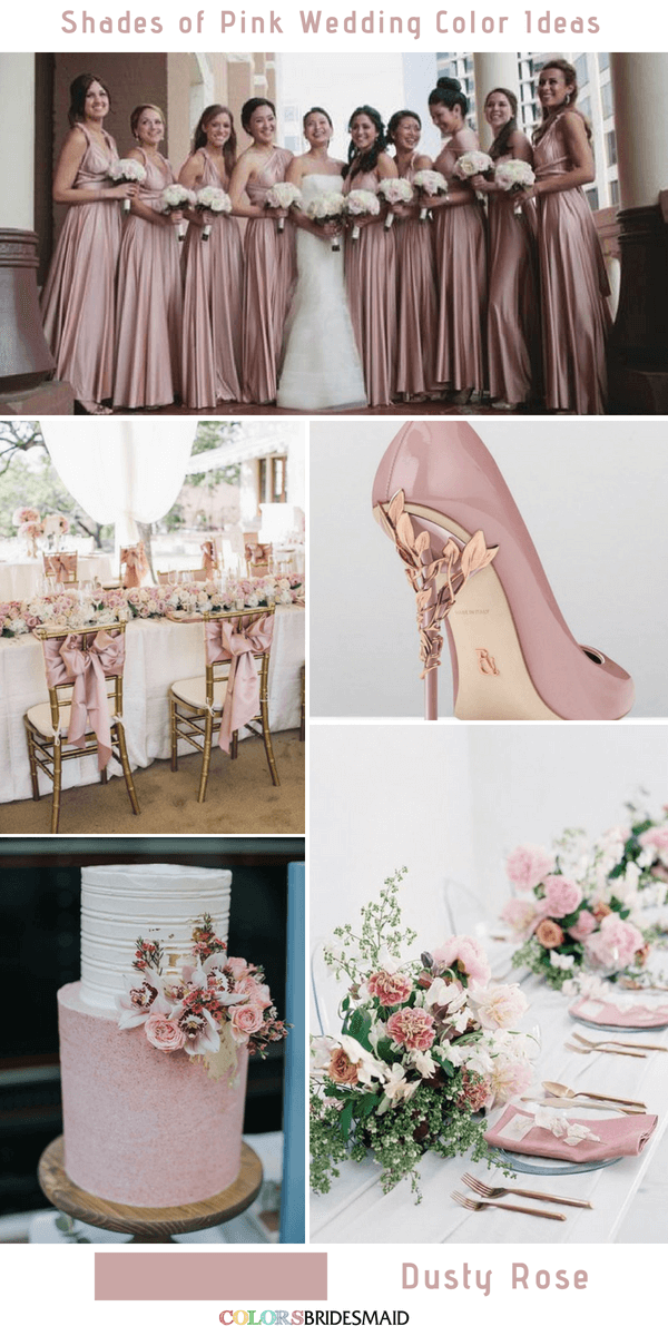 9 Prettiest Shades of Pink Wedding Color Ideas - Dusty Rose