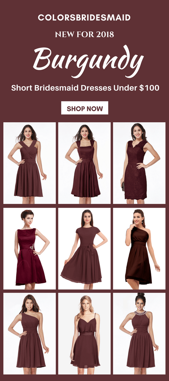 inexpensive short burgundy bridesmaid dresses