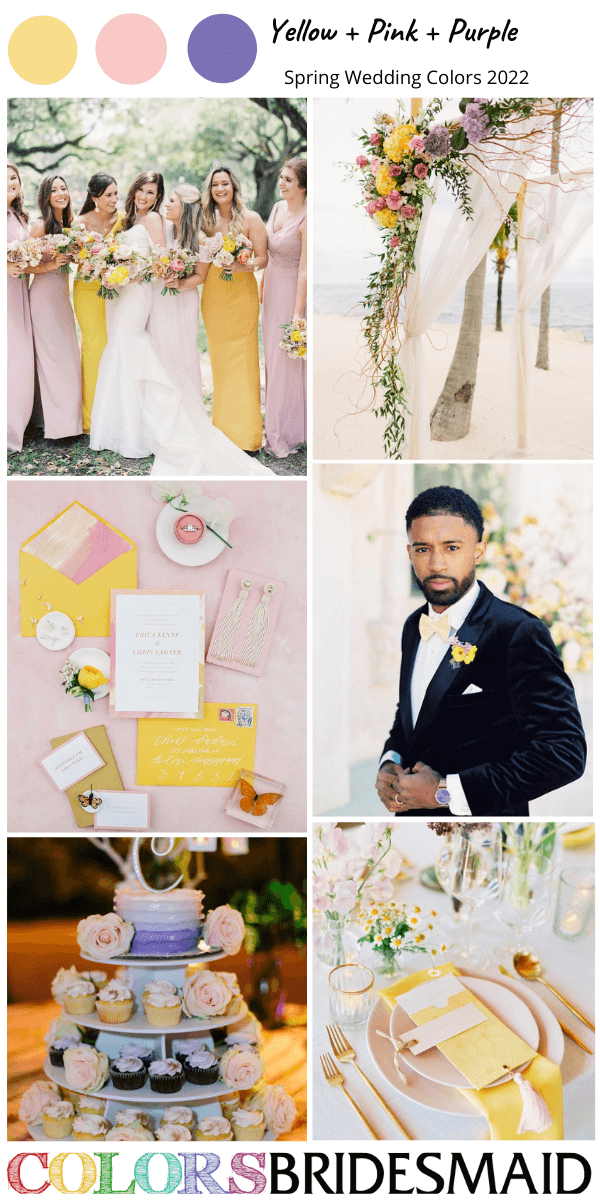 Spring Wedding Colors 2022 yellow pink and purple