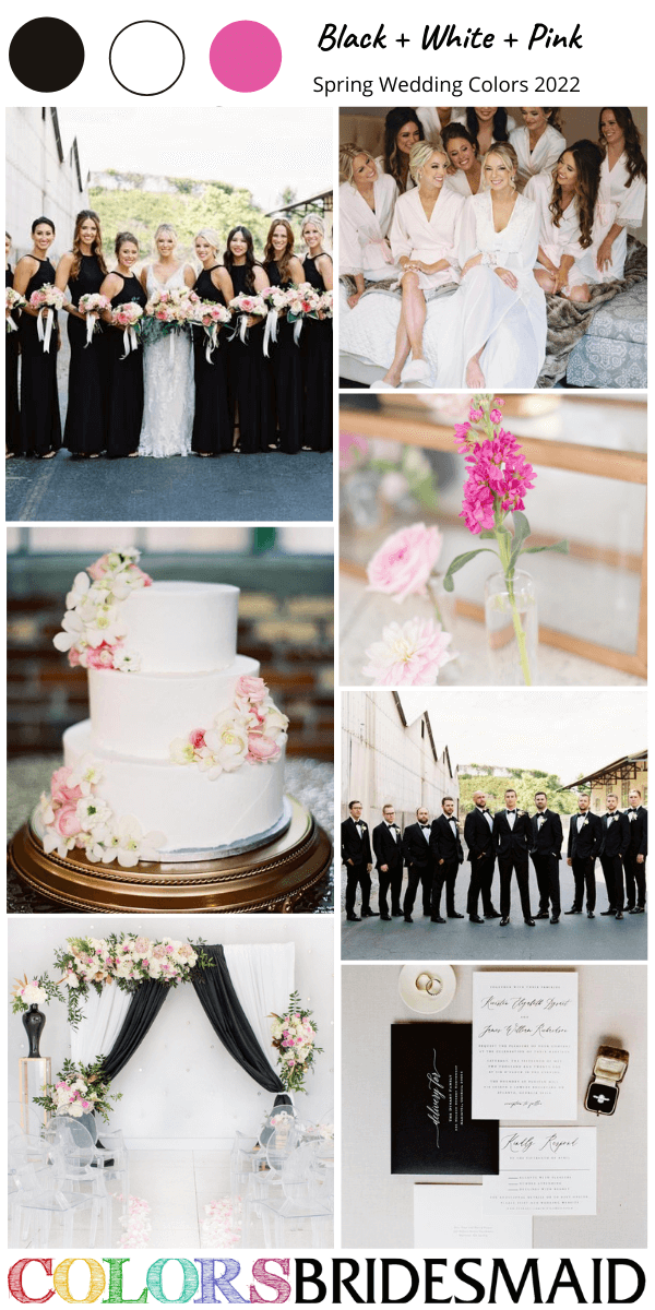 Spring Wedding Colors 2022 Black White and Pink