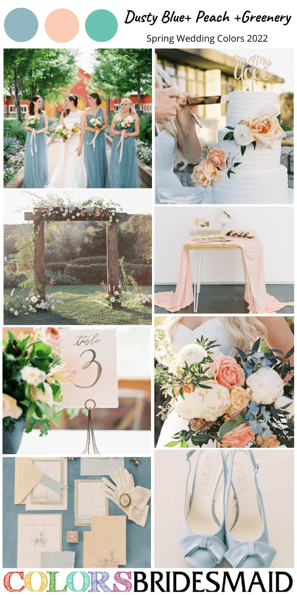 Spring Wedding Color Combos for 2022 Dusty Blue Peach and Greenery