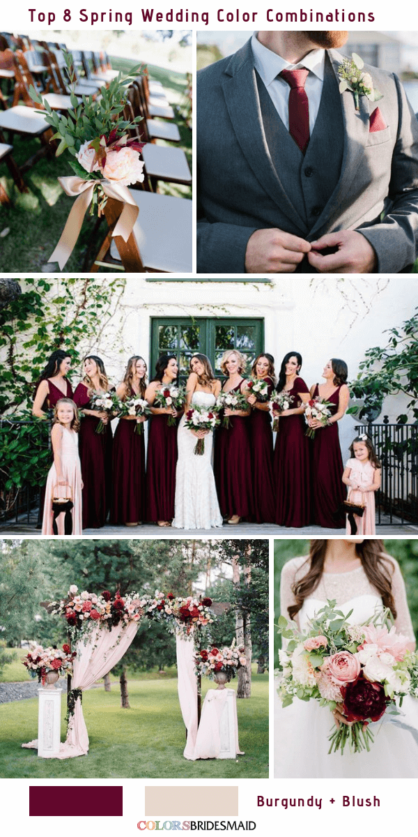 Top 8 Spring Wedding Color Palettes for 2019 - Burgundy and Blush
