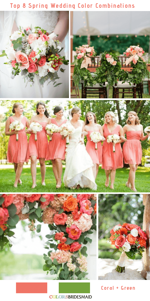 Top 8 Spring Wedding Color Palettes for 2019 - Coral and Green