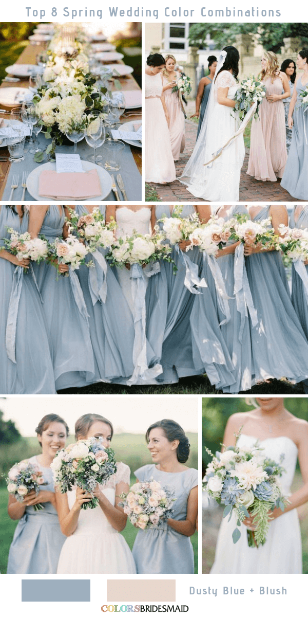 Top 8 Spring Wedding Color Palettes for 2019 - Dusty Blue and Blush