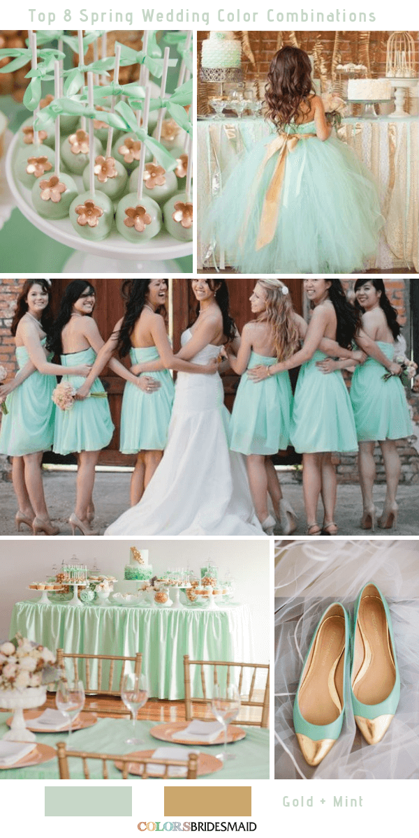 Top 8 Spring Wedding Color Palettes for 2019 - Mint and Gold