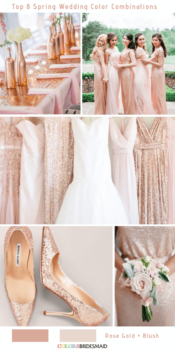 92d70c8642 Top 8 Spring Wedding Color Palettes for 2019 - Rose Gold and Blush
