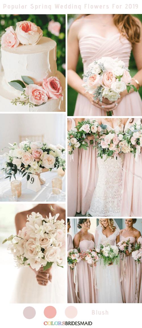 8 Popular Spring Wedding Flowers Color Ideas for 2019 - Blush