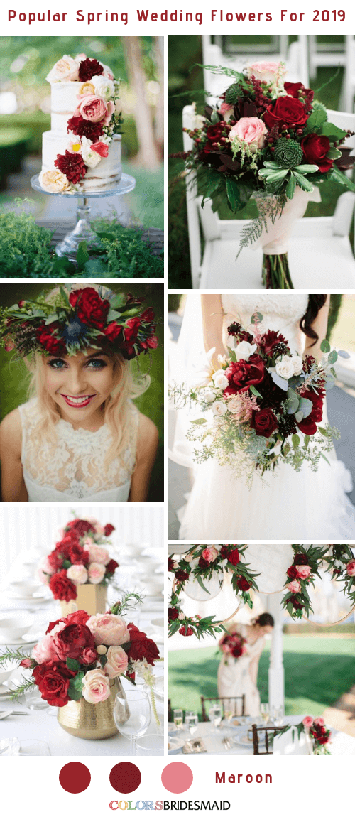8 Popular Spring Wedding Flowers Color Ideas for 2019 - Maroon
