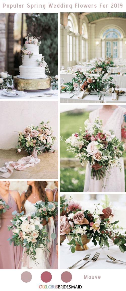 8 Popular Spring Wedding Flowers Color Ideas for 2019 - Mauve