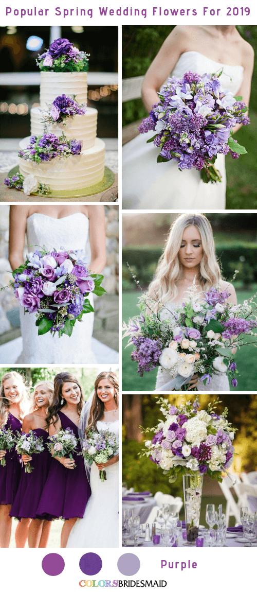 8 Popular Spring Wedding Flowers Color Ideas for 2019 - Purple