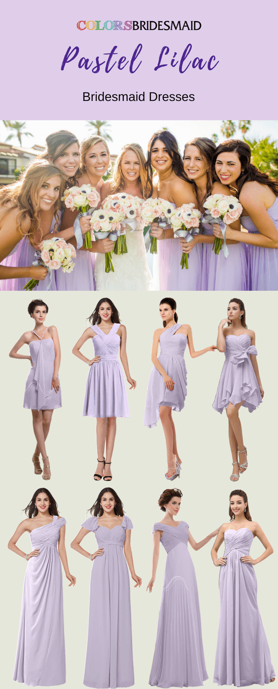 Stunning Pastel Lilac Bridesmaid Dresses in Short and Long Styles