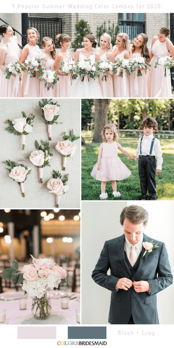 Popular Summer Wedding Color Combos for 2020- Blush and Grey