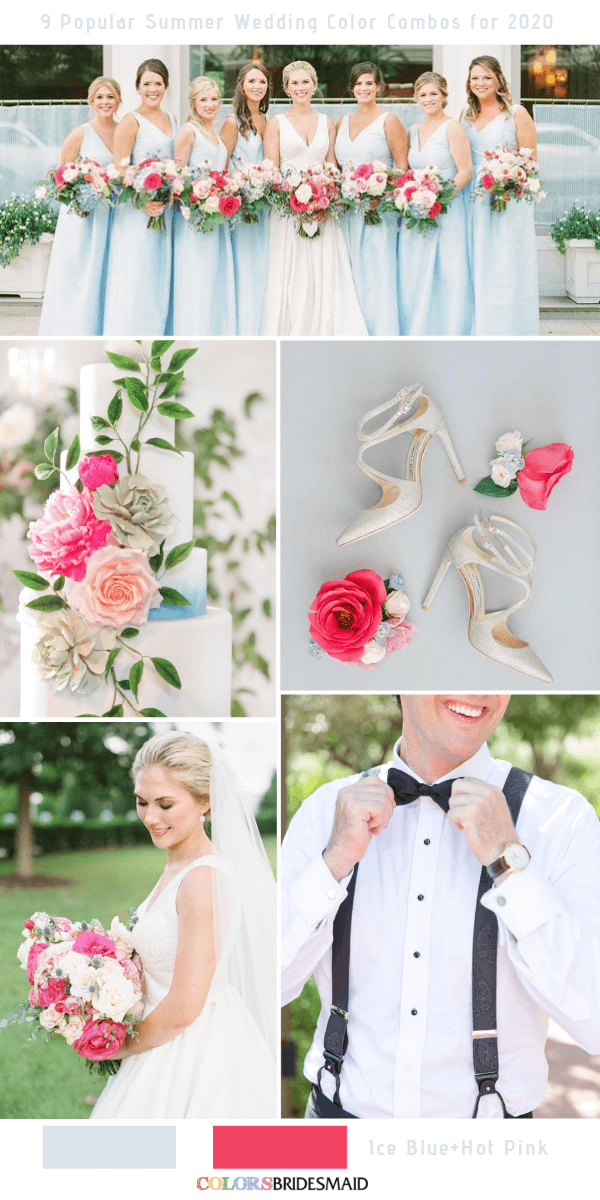Popular Summer Wedding Color Combos for 2020- Ice blue and hot pink