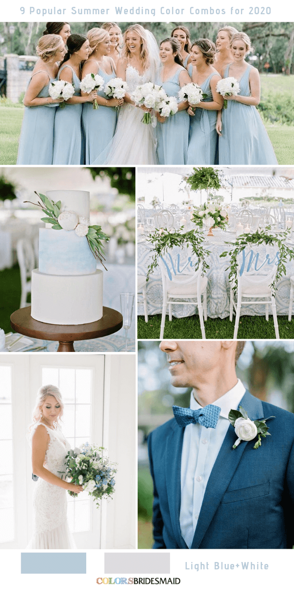 Popular Summer Wedding Color Combos for 2020- Light blue and white