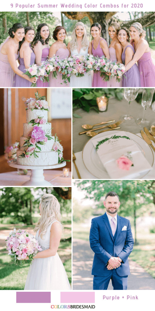 Popular Summer Wedding Color Combos for 2020- Purple and Pink