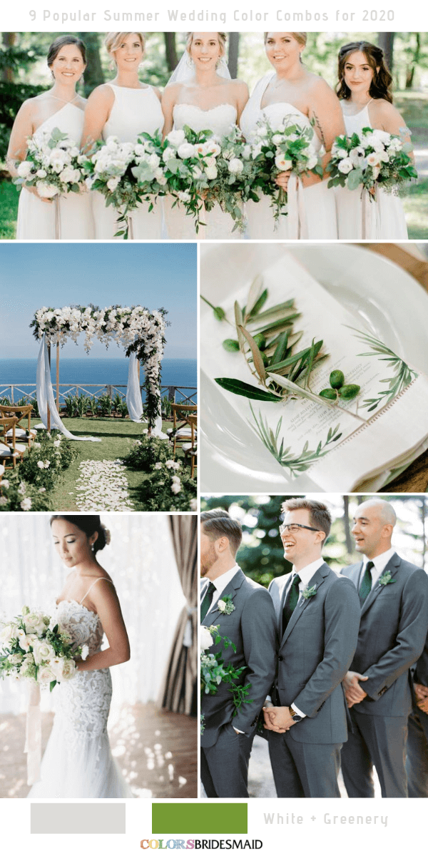 Popular Summer Wedding Color Combos for 2020- White and Greenery