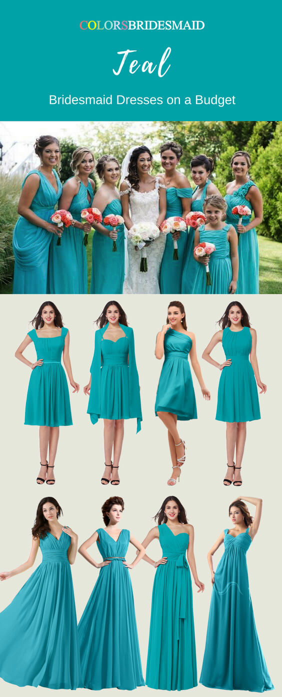 Teal Color Bridesmaid Dresses in Floor-Length and Knee-Length