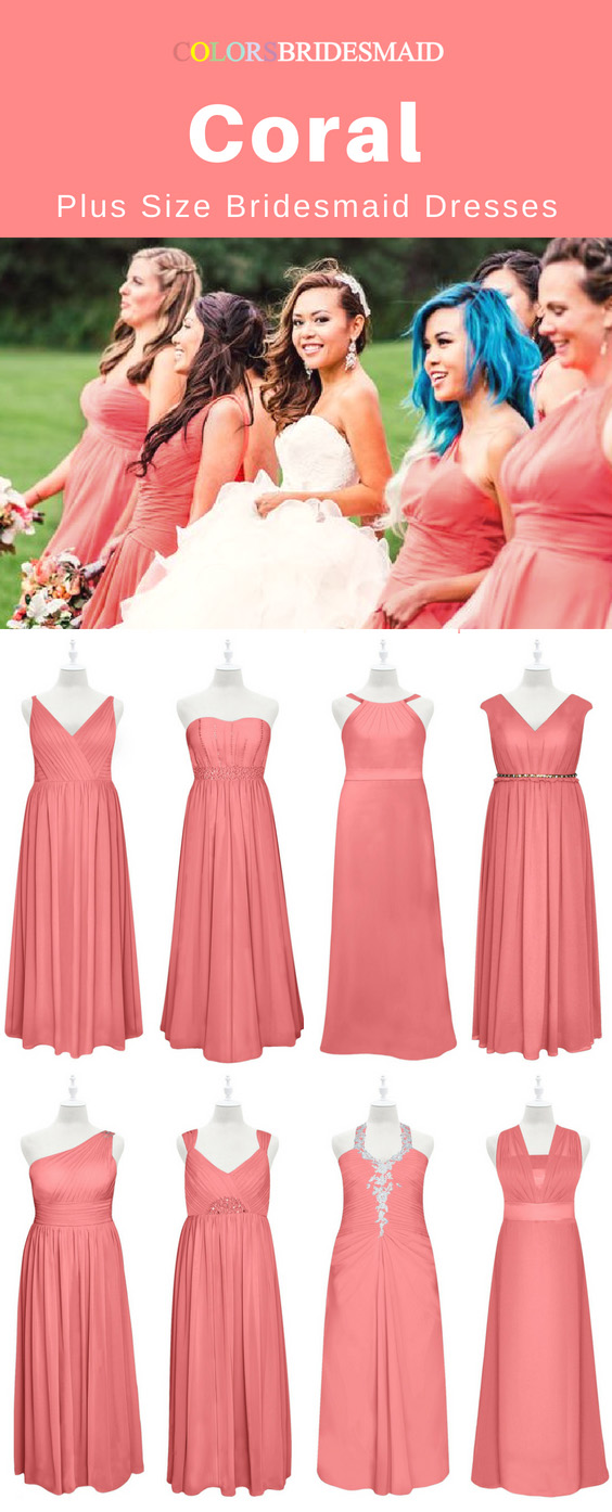 ce4bff9fd8cc The Best 8 Coral Plus Size Bridesmaid Dresses In Floor Length Sale ...