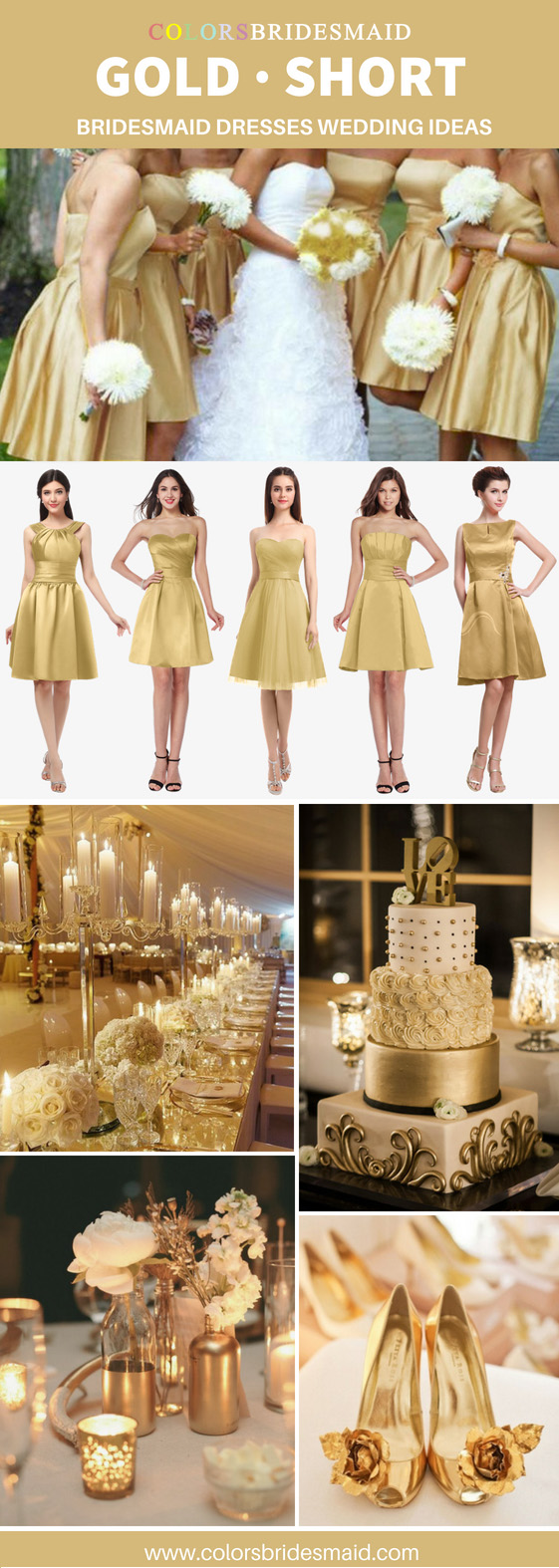 short gold bridesmaid dresses