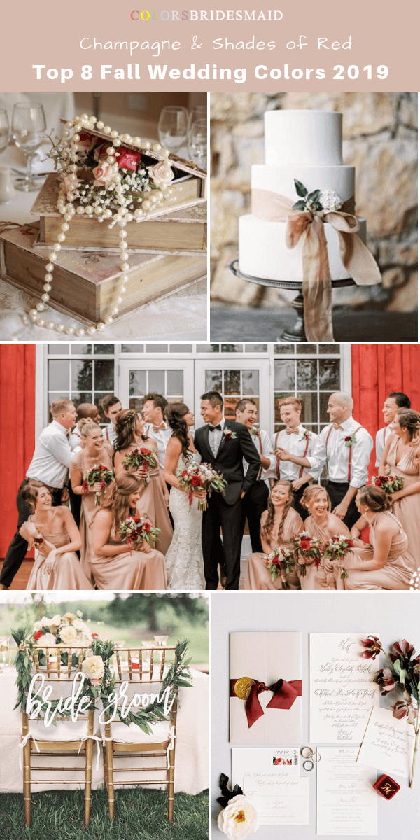 Top 8 fall wedding color trends and ideas for 2019 - Champagne and Shades of Red