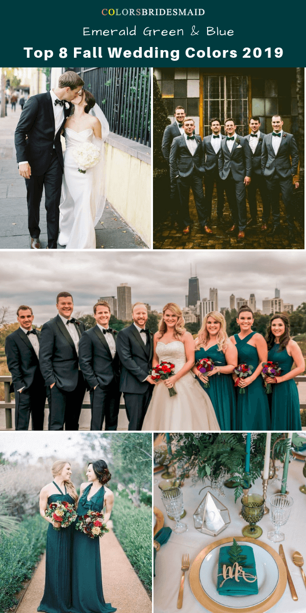 Top 8 fall wedding color trends and ideas for 2019 - Emerald Green and Blue