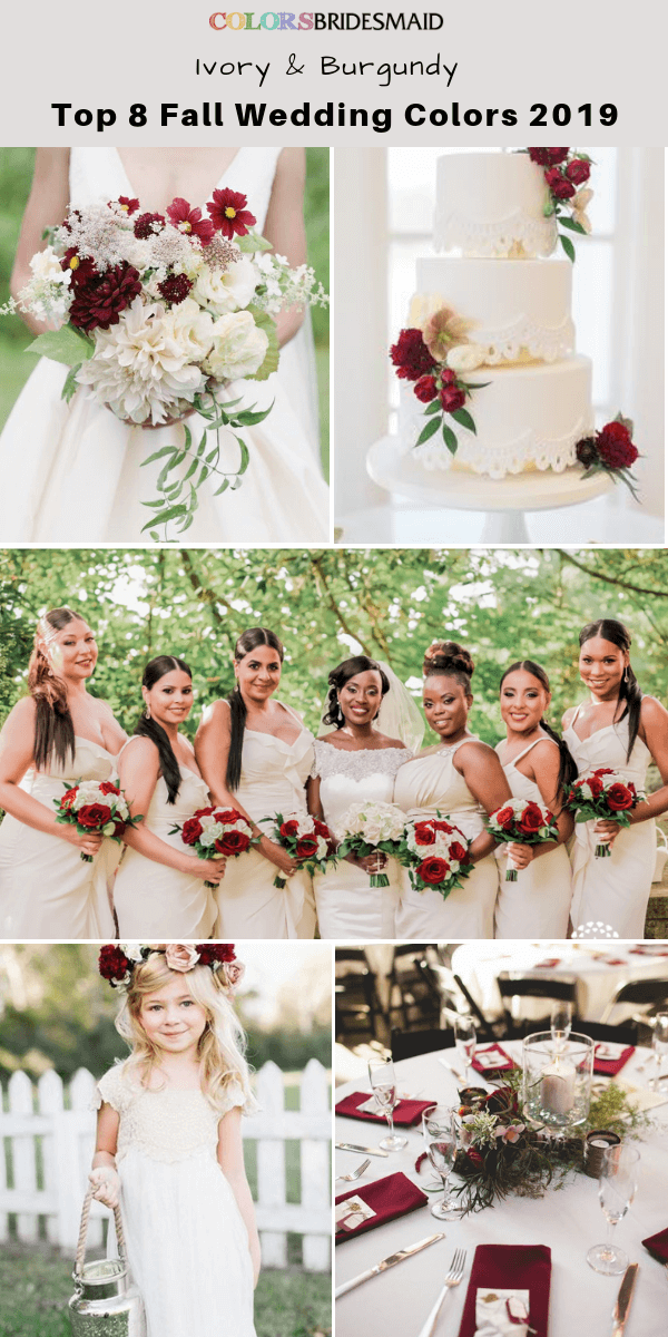 Top 8 fall wedding color trends and ideas for 2019 - Ivory and burgundy