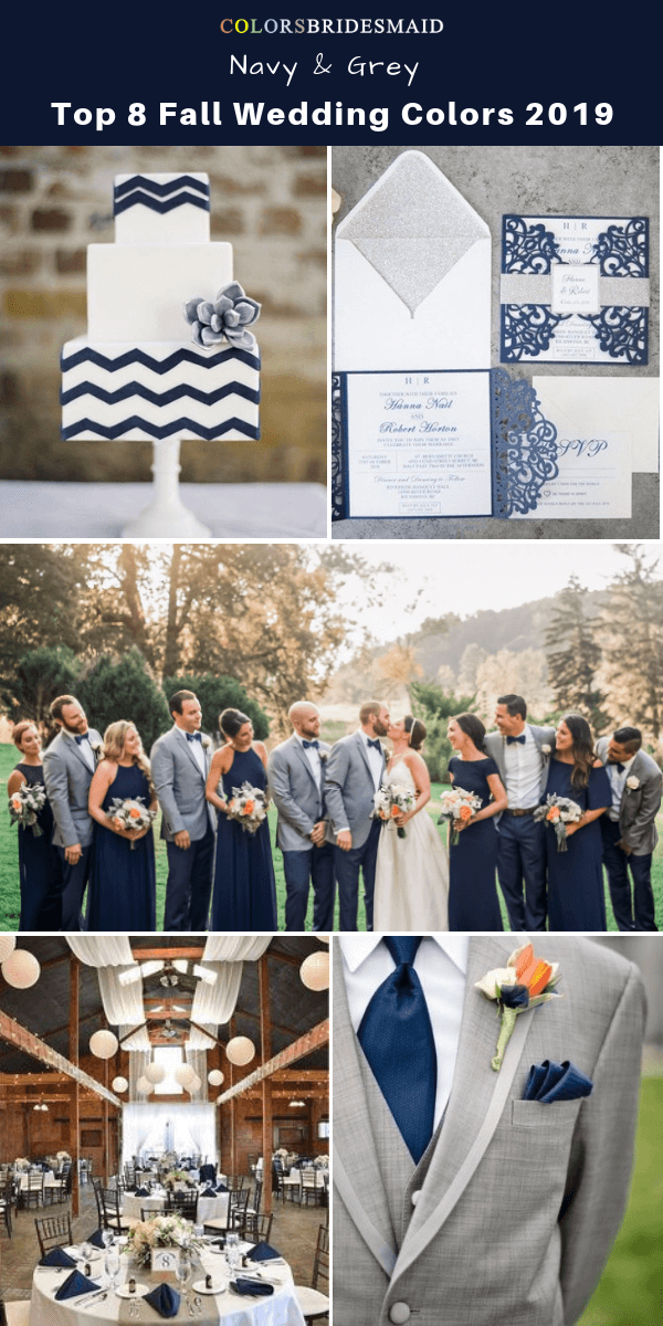 Top 8 fall wedding color trends and ideas for 2019 - Navy Blue and Grey