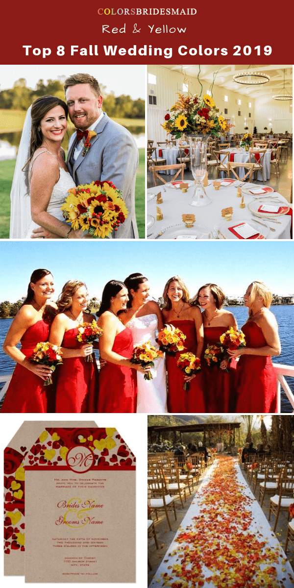 Top 8 fall wedding color trends and ideas for 2019 - Yellow and Red