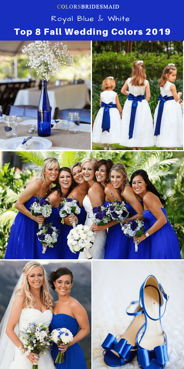 Top 8 fall wedding color trends and ideas for 2019 - Royal Blue and White