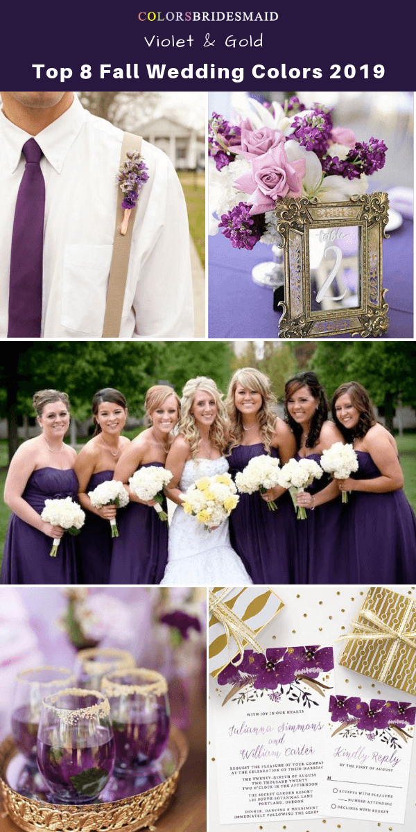 Top 8 fall wedding color trends and ideas for 2019 - Violet and Gold