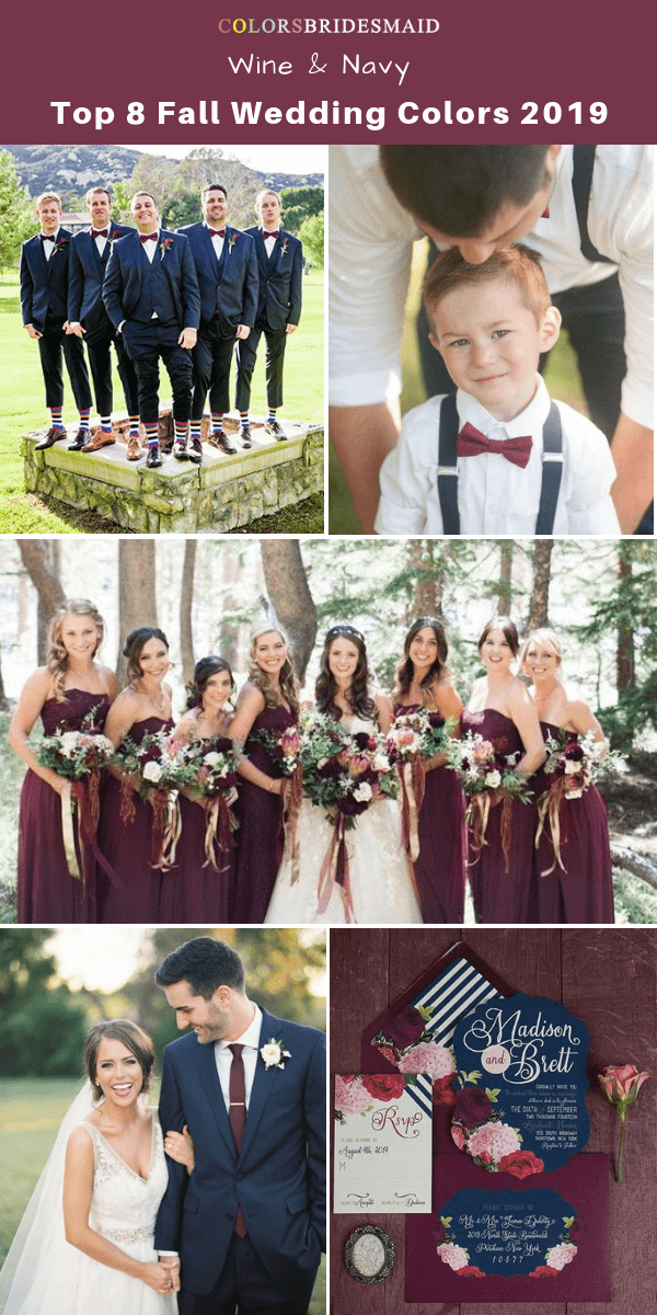 Top 8 fall wedding color trends and ideas for 2019 - Wine and Navy