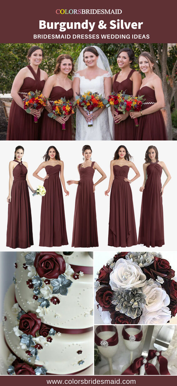 burgundy and silver bridesmaid dresses