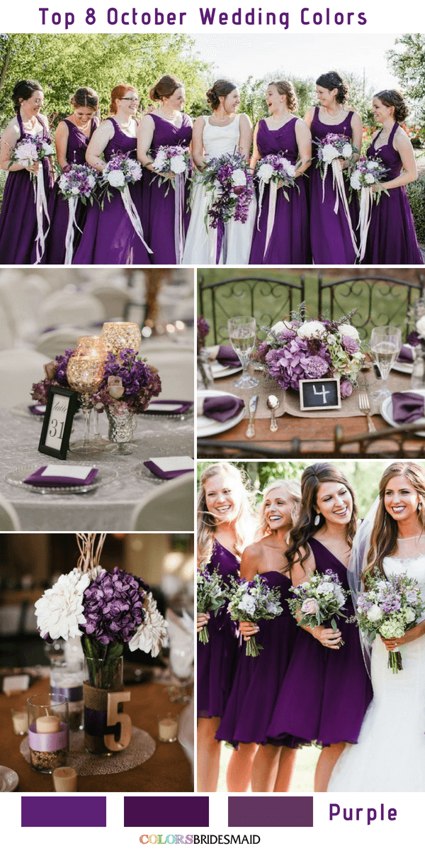 Top 8 october wedding colors to steal colorsbridesmaid top 8 october wedding colors purple junglespirit Image collections