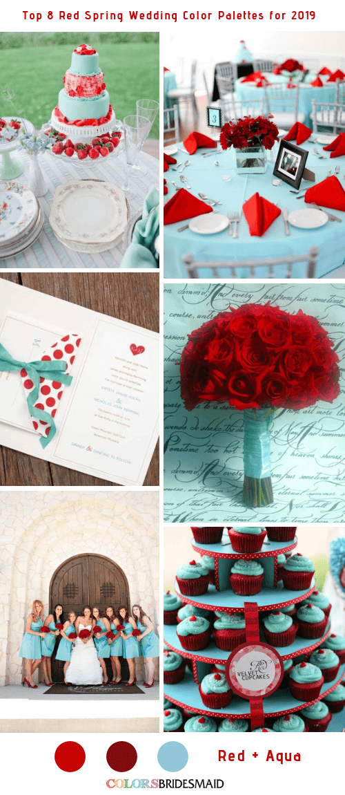 Top 8 Red Spring Wedding Color Palettes for 2019 - Red and Aqua