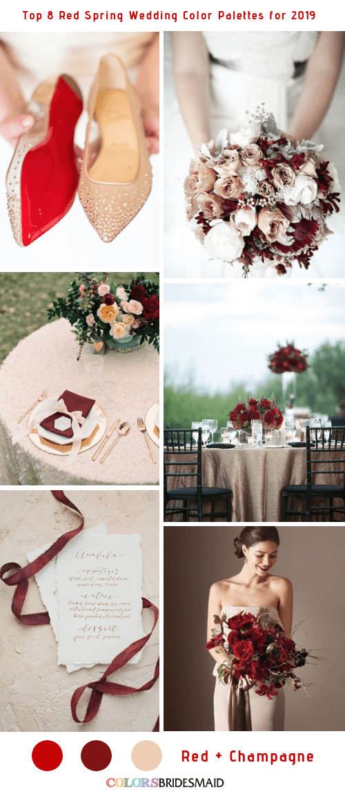 Top 8 Red Spring Wedding Color Palettes for 2019 - Red and Champagne