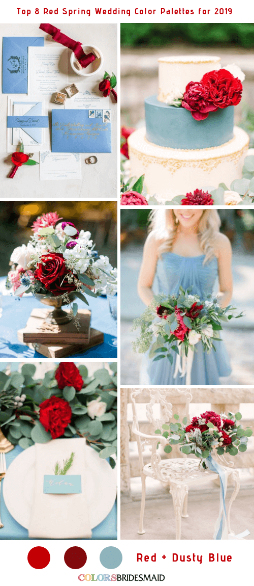 Top 8 Red Spring Wedding Color Palettes for 2019 - Red and Dusty Blue