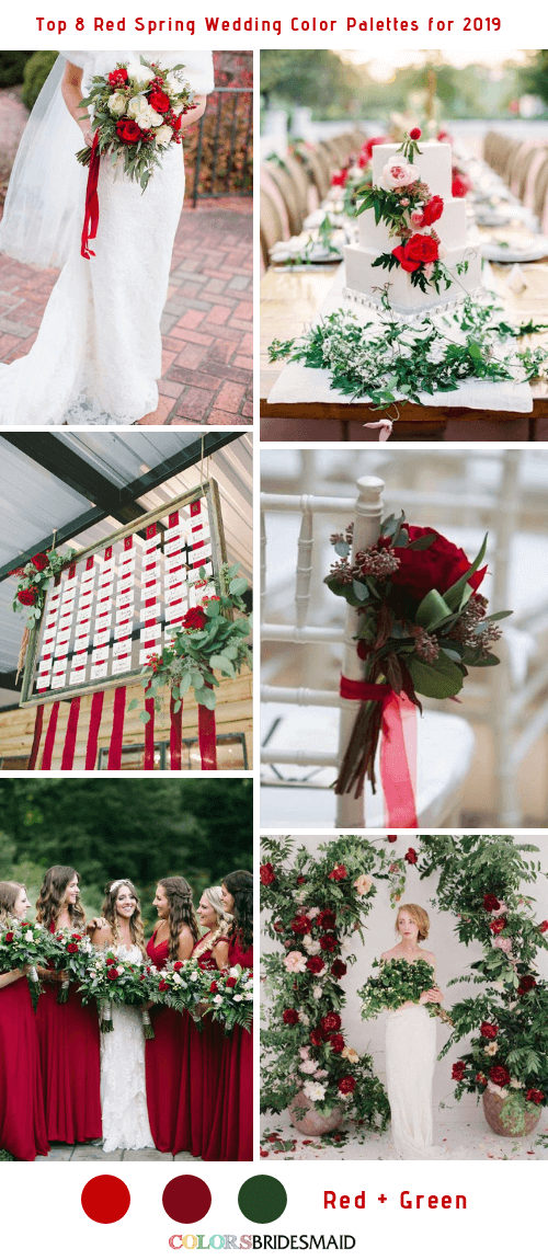 Top 8 Red Spring Wedding Color Palettes for 2019 - Red and Green