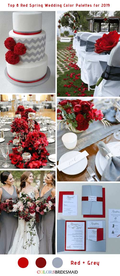 Top 8 Red Spring Wedding Color Palettes for 2019 - Red and Grey